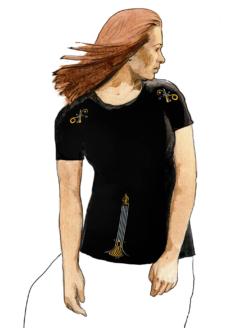 Эфирная интегральная футболка женская перед